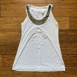 White Halter Tunic with Brass Accents